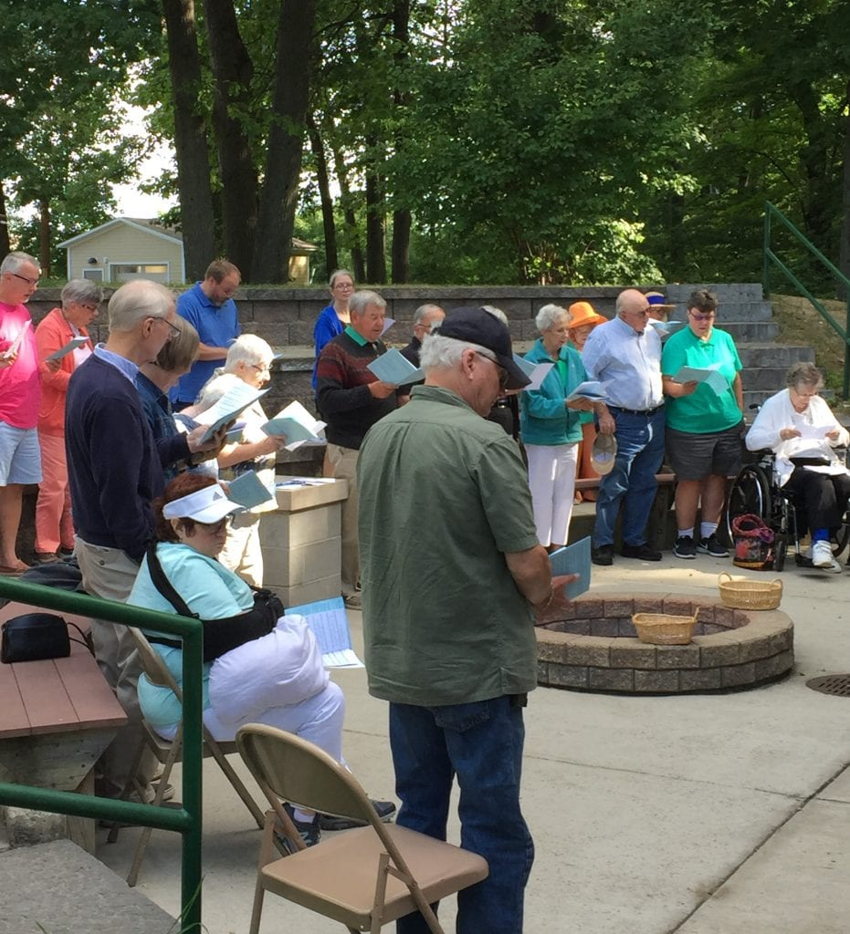 Great acoustics at the park where parishioners recite the liturgy